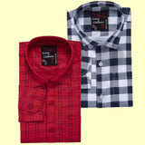 Grace & Glamour Full Sleeve Shirt for Men Combo (Pack of 2)