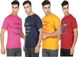Round Neck T-Shirt-Pink ,Yellow,Navy Blue ,Red -Pack Of 4