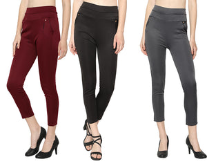 Women's Black ,Grey & Red  Solid Pants-Pack of 3