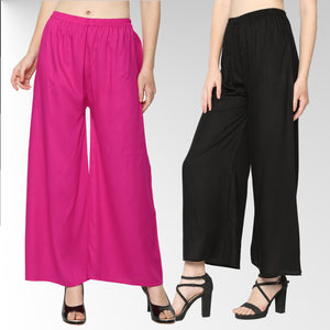 Women's/Girls Soft Rayon Plain Palazzo with Elastic Waistband Pack-2_ (Black & Rani)