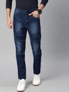 Men Blue Carrot Fit Mid-Rise Stretchable Jeans