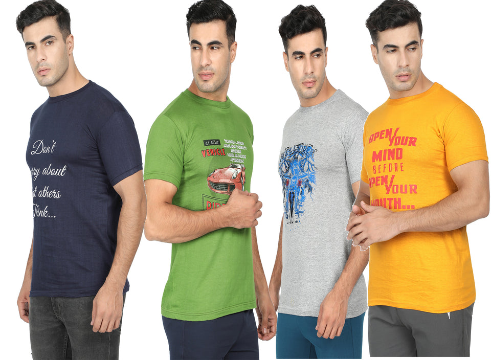 Round Neck T-Shirt-Green,Yellow,Navy Blue ,Grey -Pack Of 4