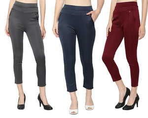 Women's Navy Blue,Grey & Red  Solid Pants-Pack of 3