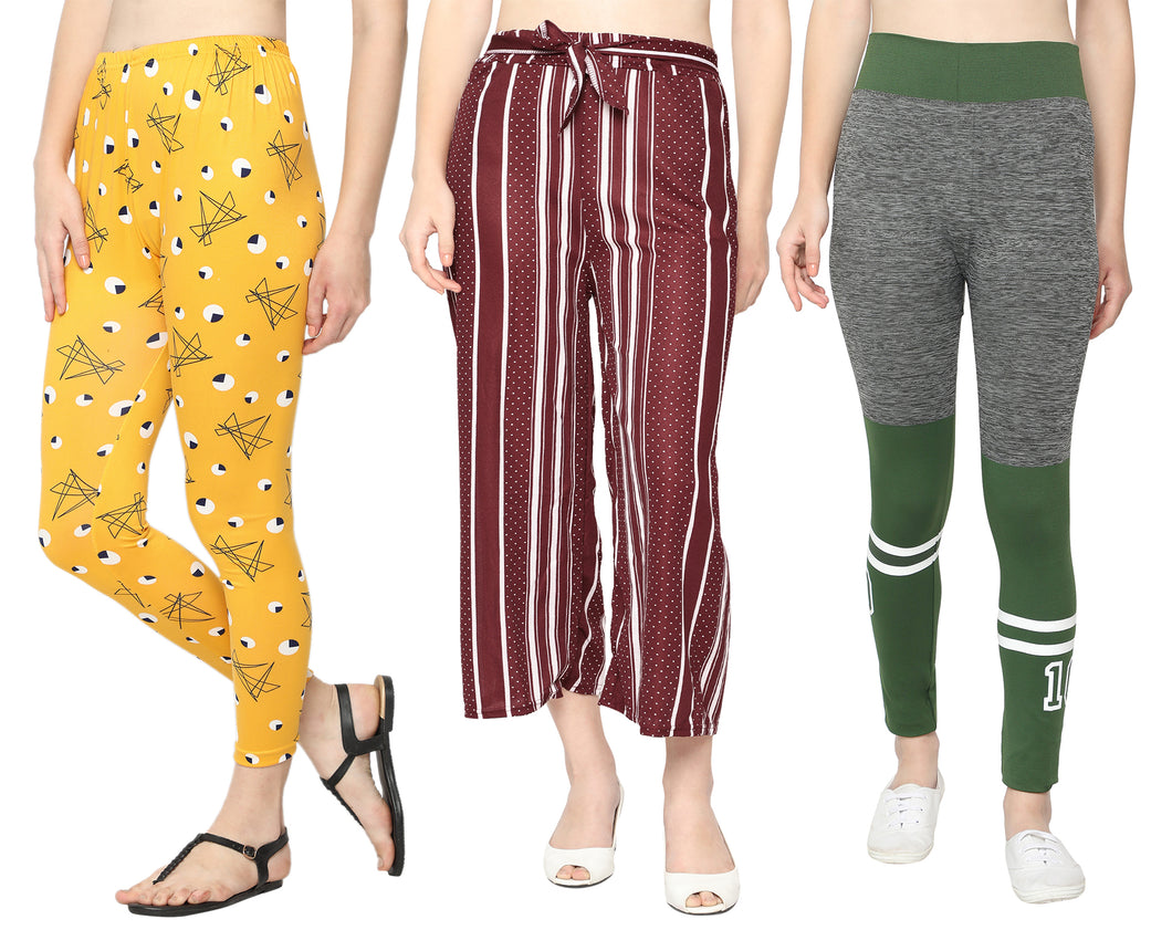 Yellow Printed Legging ,Maroon Dotted Palazzo & Green  Grey Jeggings-Pack of 3