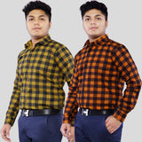 Combo of 2  Cotton Full Sleeve Check Shirts for men-Orange-Yellow