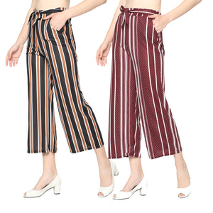 Women's/Girls Black & Brown Lining & Maroon Dotted Palazzo-Pack of 2