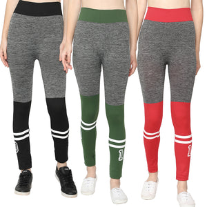 Black, Red & Green Designer Solid Skinny Fit Jeggings- Pack of 3