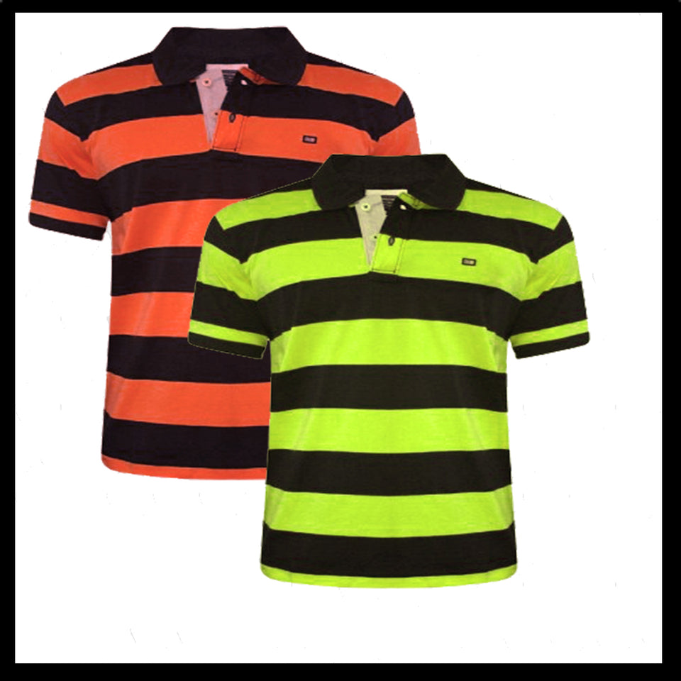 Pack Of 2 Yellow-Orange black Stripe  T-Shirts