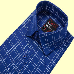 Cotton Full Sleeve Casual Single Shirt for Men -Blue Check