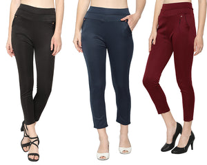Women's Black ,Navy Blue & Red  Solid Pants-Pack of 3