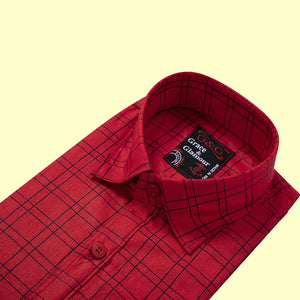 Full Sleeve Casual Single Shirt for Men-Pink check