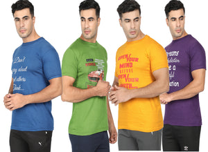 Round Neck T-Shirt-Green, Yellow, Blue ,Purple -Pack Of 4