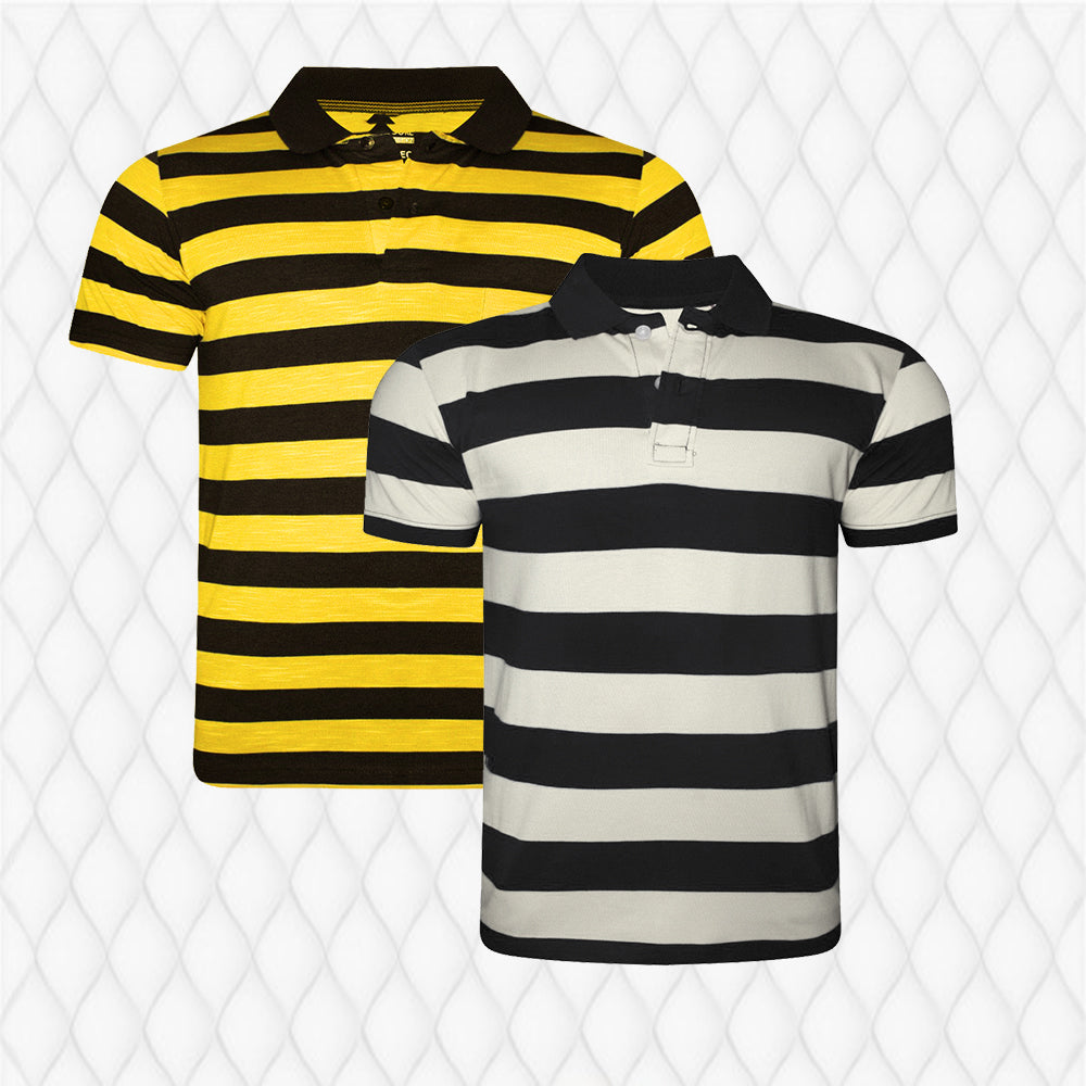 Pack Of 2 Yellow-White black Stripe  T-Shirts