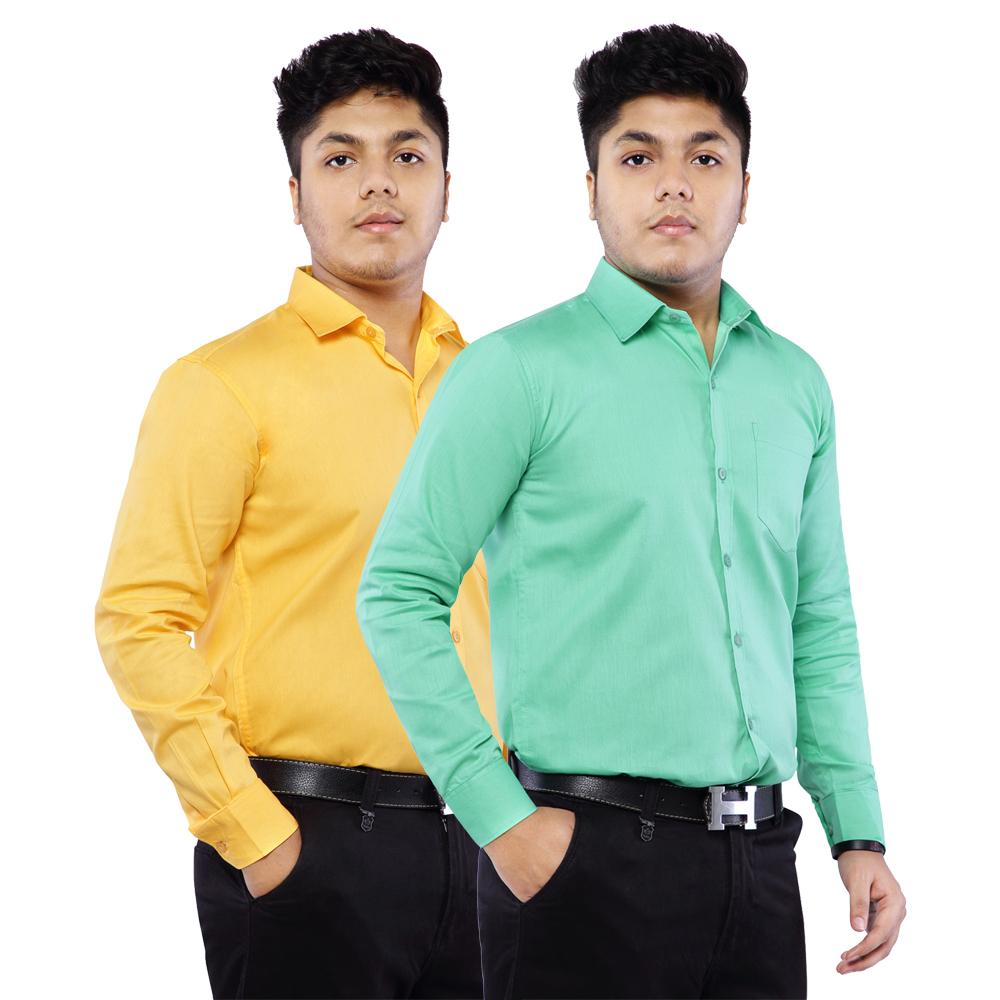 Combo of 2 Cotton Full Sleeve Shirts Green-Amber