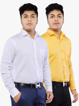 Combo of 2 Cotton Full Sleeve Shirts for Men Amber-White