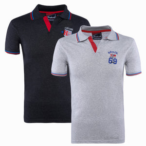 Combo of Black Grey Cotton Polo Collar Half Sleeve T-shirts
