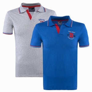 Combo of Blue Grey Cotton Polo Collar Half Sleeve T-shirts