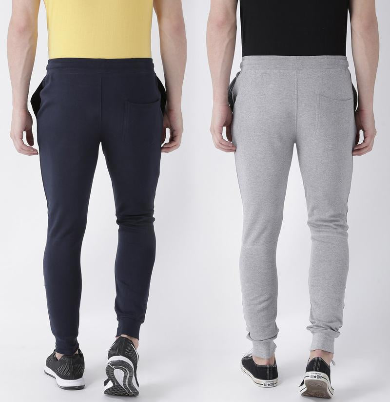 Navy and Grey Color Solid Track Pants-Pack of 2