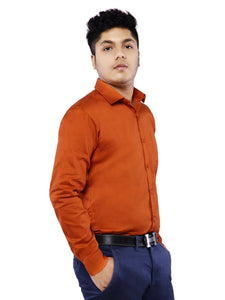 Combo of 2 Cotton Full Sleeve Shirts for Men - Rust- White