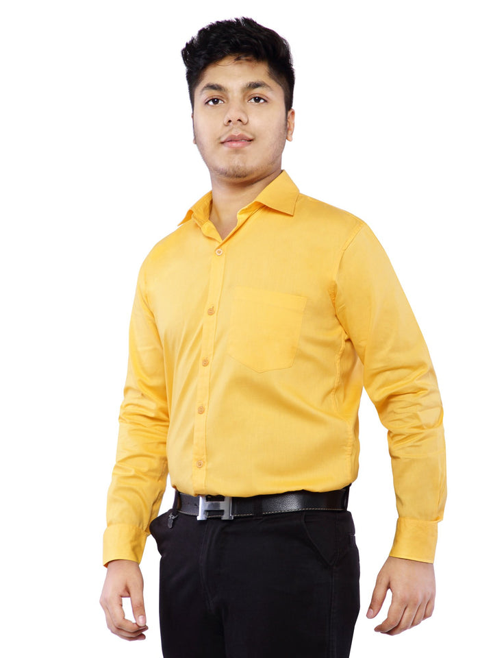 Combo of 2 Cotton Full Sleeve Shirts for Men- Amber-Blue
