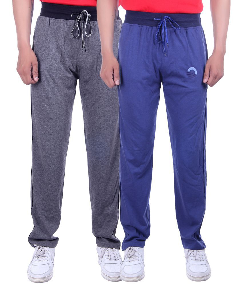 Solid Men Blue & Grey Track Pants-Pack of 2