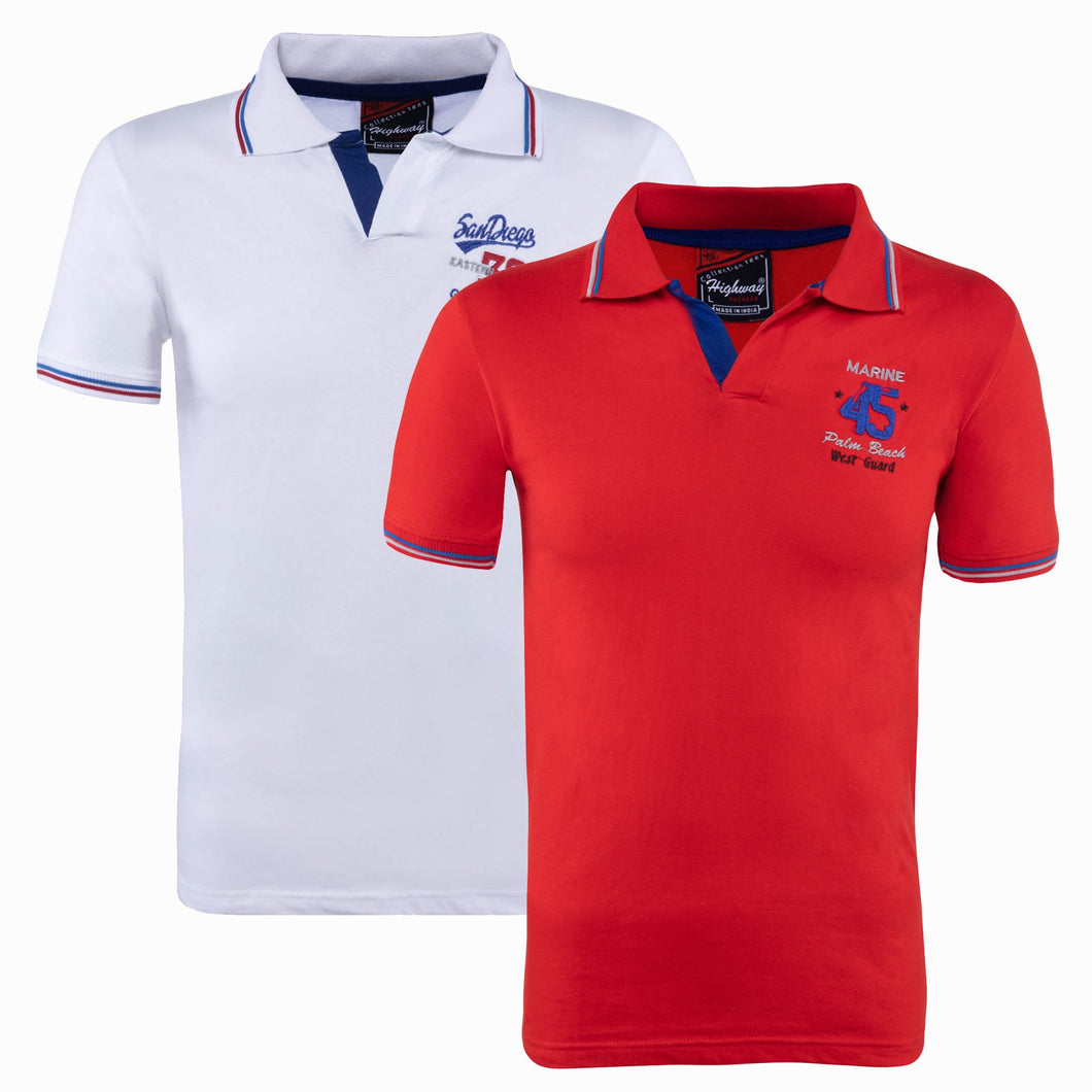 Combo of Red White Cotton Polo Collar Half Sleeve
