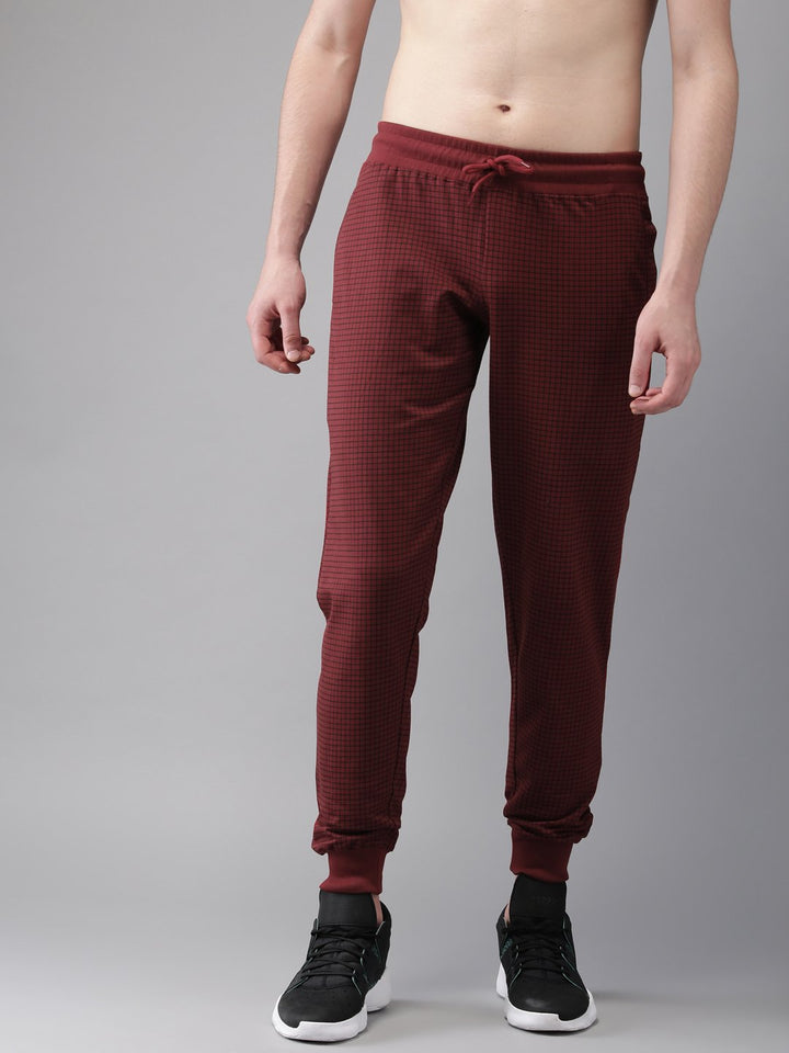 Solid Men Red Check Track Pants