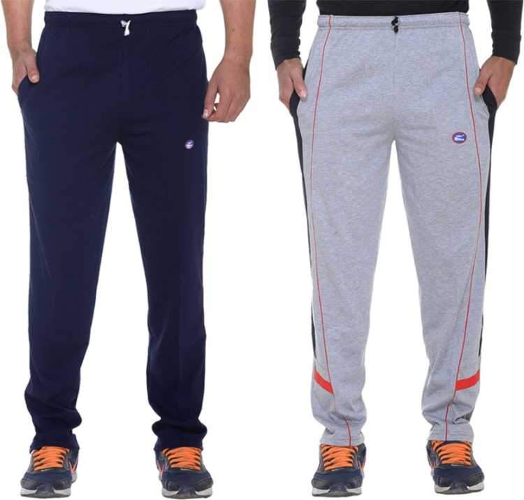 Solid Men Blue & Grey Track Pants