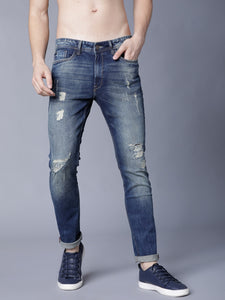 Men Blue Slim Fit Mid-Rise Highly Distressed Stretchable Jeans