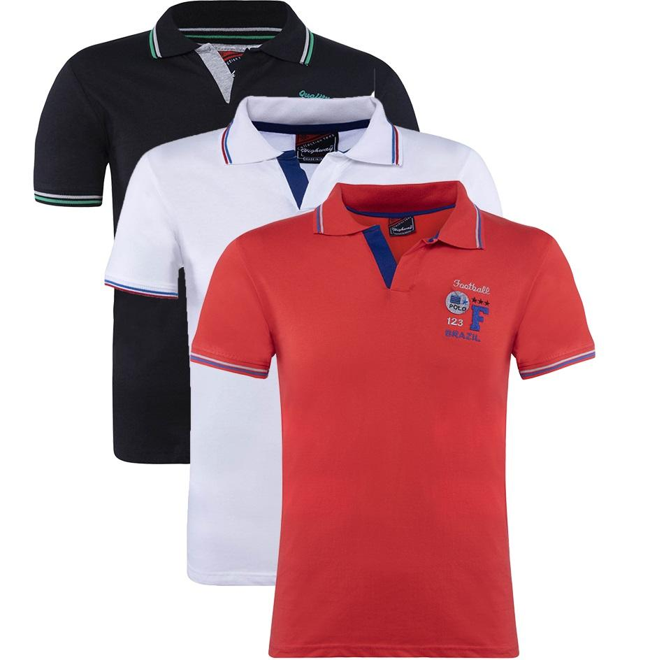 Cotton Polo Collar Half Sleeve T-Shirt White-Red-Black for Men(Combo of 3)