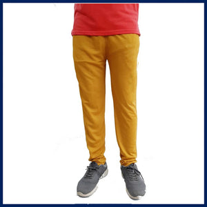 MEN'S YELLOW  REGULAR TRACK PANTS