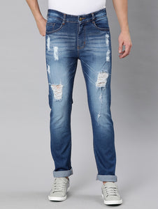 Blue Washed Distressed Denim Jeans