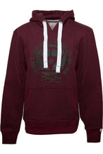 BULLI FACE Mens Hoodie bordeaux melange rubber neon orange