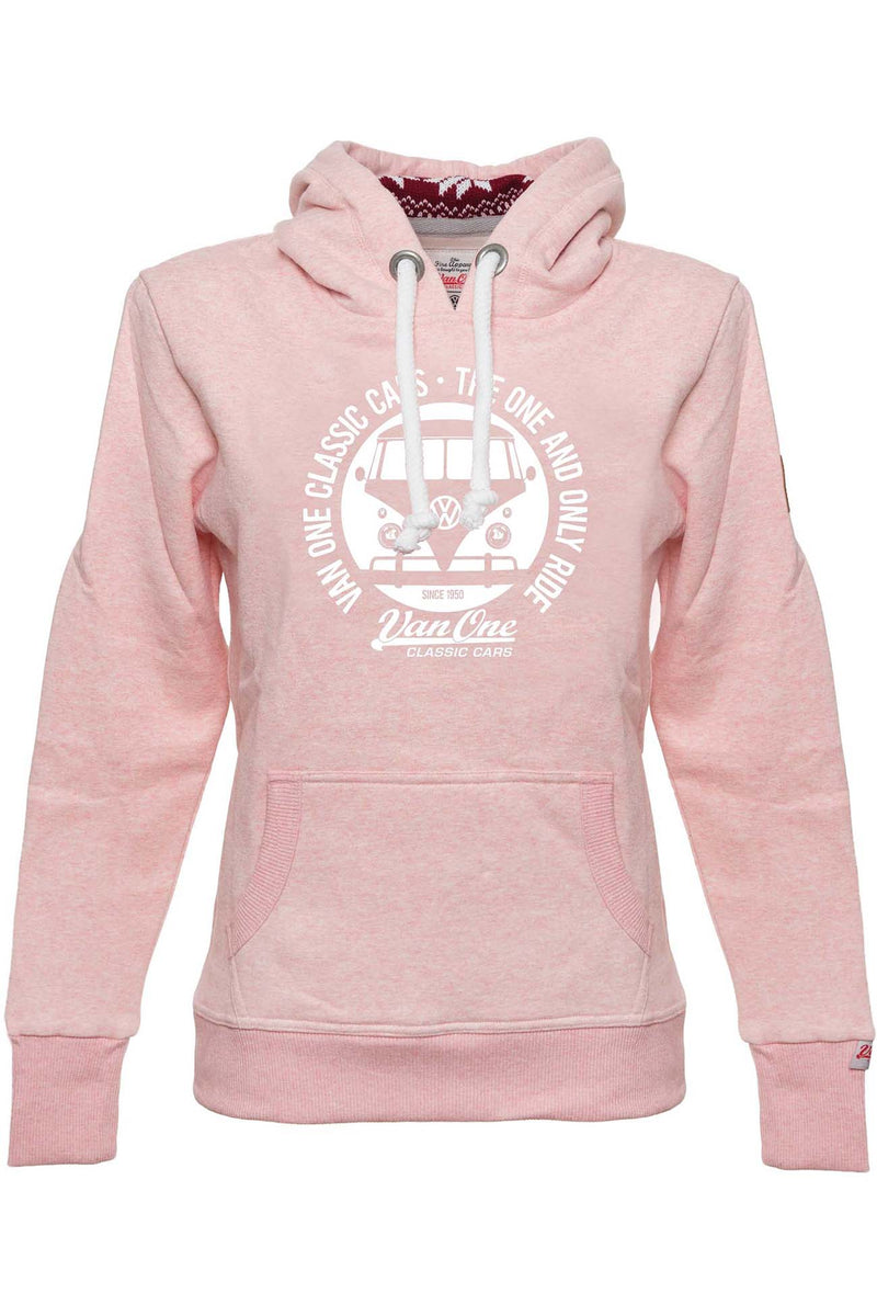 BULLI FACE Womens Winter Hoodie rose melange white