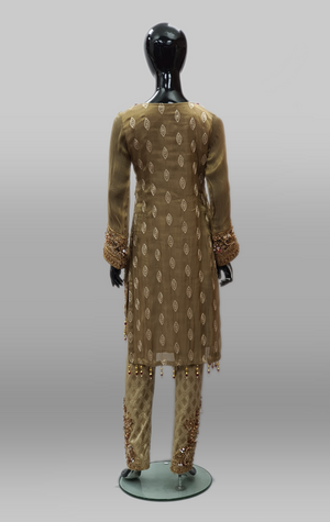 Dark Gold Heavy Emb Kameez