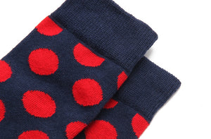 Fashion Casual Polka Dot Cotton Socks Men - Red, Blue, Yellow Detail