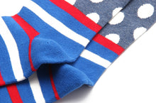 Load image into Gallery viewer, Fashion Casual Polka Dot Cotton Socks Men - Red, White and Blue Striped Bottom, Grey Top