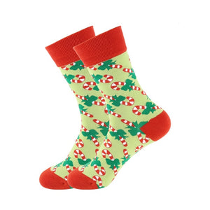Christmas Socks - Cotton Prints - Candy Cane Bright Green