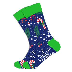 Christmas Socks - Cotton Prints - Candy Cane and Snowflakes Blue