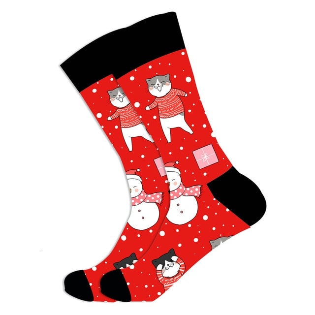 Christmas Socks - Cotton Prints - Christmas Dancing Cat
