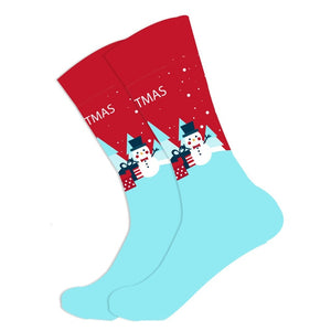 Christmas Socks - Cotton Prints - Blue and Red Snowman