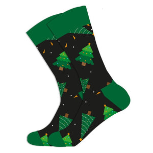 Christmas Socks - Cotton Prints - Black with Trees