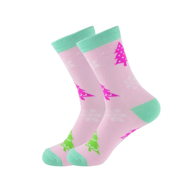 Christmas Socks - Cotton Prints - Pink Christmas