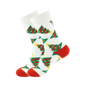 Christmas Socks - Cotton Prints - White Trees