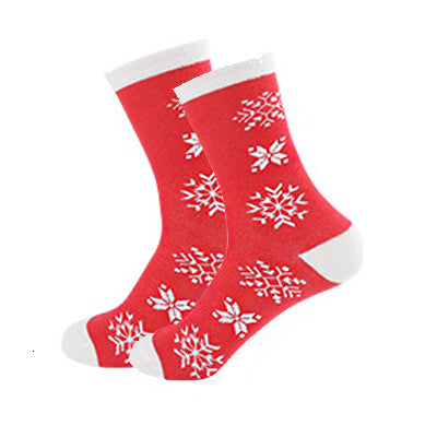 Christmas Socks - Cotton Prints - Big Red Snowflakes