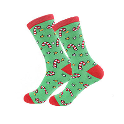 Christmas Socks - Cotton Prints - Green Candy Canes