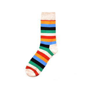 Happy Striped Colorful Funny Socks - Orange, Blue. Black, Green