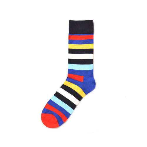 Happy Striped Colorful Funny Socks - Red. Blue, Yellow, Black