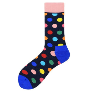 Fashion Casual Polka Dot Cotton Socks Men - All colors, Dark Base