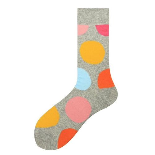 Fashion Casual Polka Dot Cotton Socks Men - Grey, Orange, Yellow and Blue
